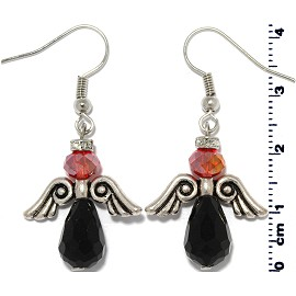 Angel Tear Crystal Bead Rhinestone Earrings Black AB Red Ger803