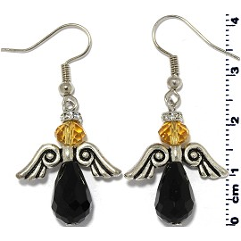 Angel Tear Crystal Bead Rhinestone Earrings Black Yellow Ger804