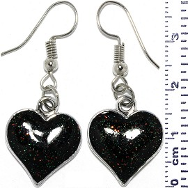 Dangle Earrings Sparkling Heart Shiny Black Silver Tone Ger807