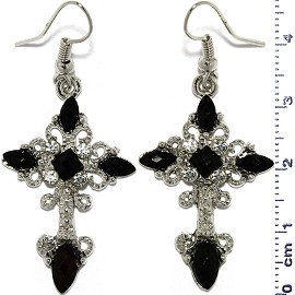 Dangle Earrings Religious Cross Obsidian Black Silver Ger807