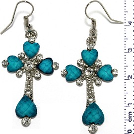 Dangle Earrings Cross Crucifix Heart Bead Stone Turquoise Ger810