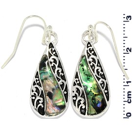 Tear Drop Abalone Shell Earrings Green Black Silver Tone Ger817