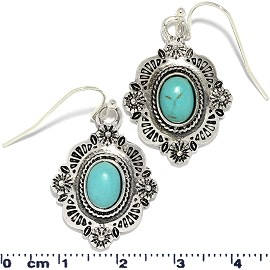 Oval Rectangle Turquoise Stone Bead Earrings Silver Ger819