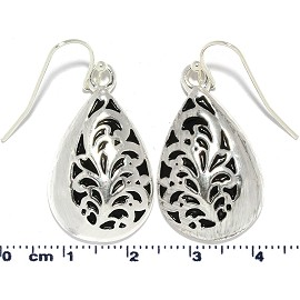 Tear Drop Flower Silver Earrings Ger821