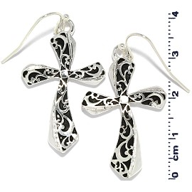 Cross Earrings Black Silver Ger822