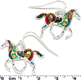 Horse Earrings Multi Colored Yellow Green Red Ger824