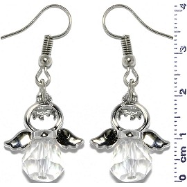 Dangle Earrings Crystal Religious Baby Angel Clear Silver Ger828