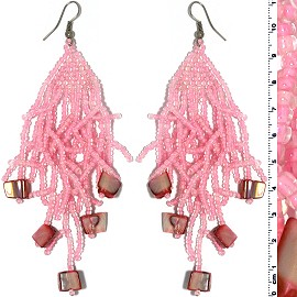Dangle Earrings Beads Shells Silver Tone Pink Ger835