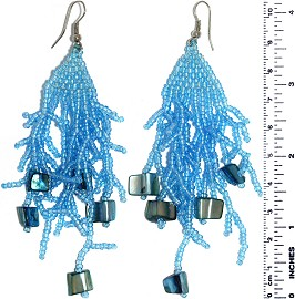 Dangle Earrings Beads Stones Turquoise Silver Tone Ger845