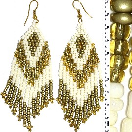 Dangle Earrings Beads White Cream Gold Tone Ger846