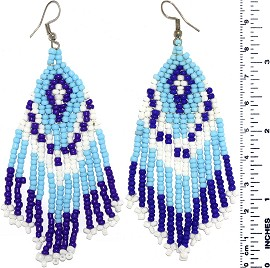 Dangle Earrings Beads Blue Turquoise White Silver Tone Ger849