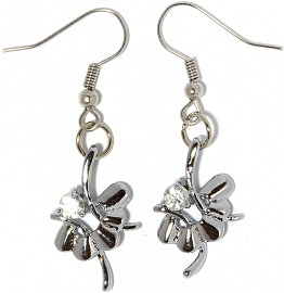 Rhinestone Earrings Flower Silver Clear Ger857