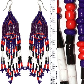 Dangle Earrings Beads Tubes Purple Red Black White S Tone Ger858