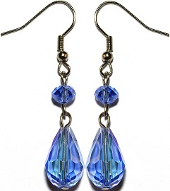 Crystal Earrings Tear Light Blue Ger865