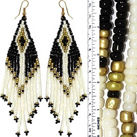 Dangle Earrings Beads Black Cream White Gold Tone Ger868