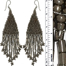 Dangle Earrings Beads Tubes Silver Gray Tone Ger870