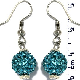Rhinestone Disco Ball Bead Dangle Earrings Turquoise Ger871