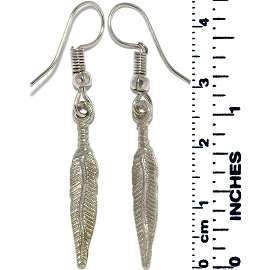 Earrings Feather Metallic Silver Tone Ger873