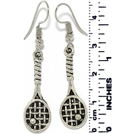 Earrings Tennis & Ball Metallic Silver Tone Ger876