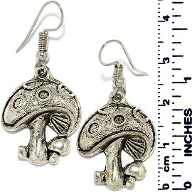 Earrings Mushroom Metallic Silver Tone Ger879