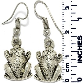 Earrings Toad Frog Metallic Silver Tone Ger881