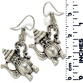 Earrings Fancy Teapot Metallic Silver Tone Ger882