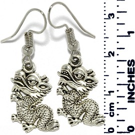 Earrings Dragon Metallic Silver Tone Ger883