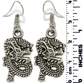 Earrings Dragon Line Metallic Silver Tone Ger884