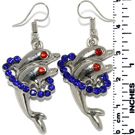 Earrings Dolphin Rhinestones Silver Tone Blue Red Ger885