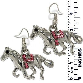 Earrings Horse Rhinestones Silver Tone Pink Ger886