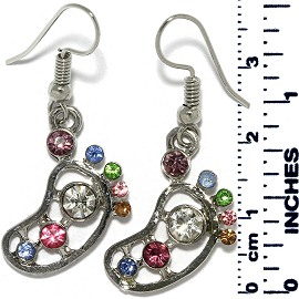 Earrings Foot Rhinestones Silver Tone Multi Color Ger888