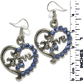Earrings Heart Love Rhinestones Silver Tone Light Blue Ger889