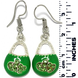 Earrings Purse Bag Rhinestones Silver Tone Green Ger892