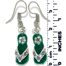 Earrings Sandal Rhinestones Silver Tone Green Ger893