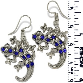 Earrings Lizard Gecko Rhinestones Silver Tone Blue Ger895