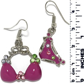 Earrings Women's Bathing Suit Rhine Silver Purple Tone Ger897