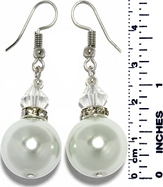 Shiny Bead Crystal Earrings White Silver Tone Ger918
