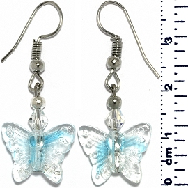 Butterfly Glass Earrings Clear Turquoise Silver Tone Ger922