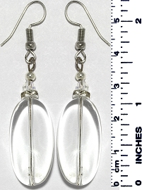 Oval Coin Crystal Earrings Transparent Clear Silver Tone Ger926
