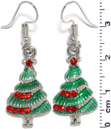 Christmas Tree Dangle Earrings Silver Tone Green Red Ger936