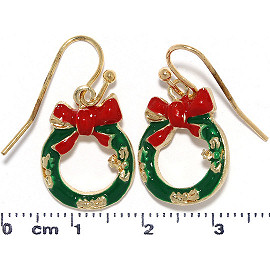 Christmas Wreath Earrings Gold Green Red Ger938