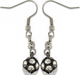Rhinestone Earrings Black Ger939