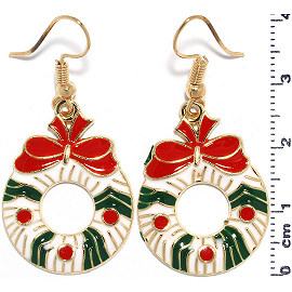 Christmas Wreath Earrings Gold Green Red White Ger941