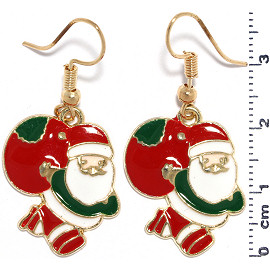 Christmas Santa Claus Earrings Gold Green Red White Ger942