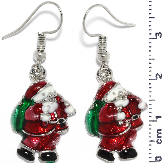 Christmas Santa Claus Earrings Silver Green Red White Ger945