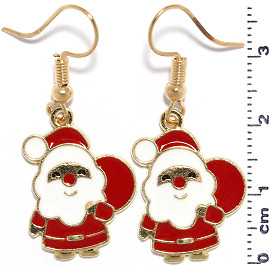 Christmas Santa Claus Earrings Gold Red White Ger946