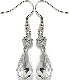 Crystal Earrings Silver Clear Ger948