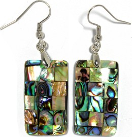 Abalone Earrings Rectangle Green Ger958