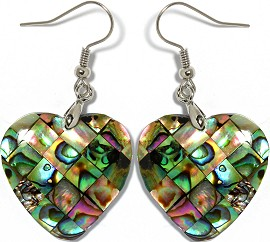 Abalone Earrings Heart Green Ger959