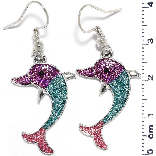 Dolphin Glitter Sparkle Earrings Silver Purple Turquoise Ger960